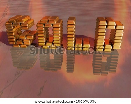 Rendered image of gold bars arranged to spell Gold reflected on the ground - stock photo