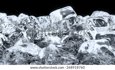 Rendered image of Ice cube on the black background - stock photo
