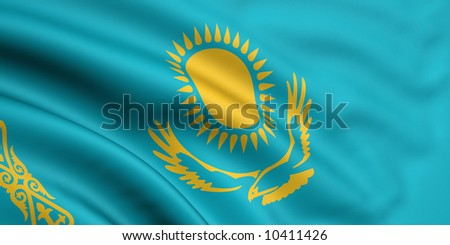 Rendered kazakhstani flag - stock photo