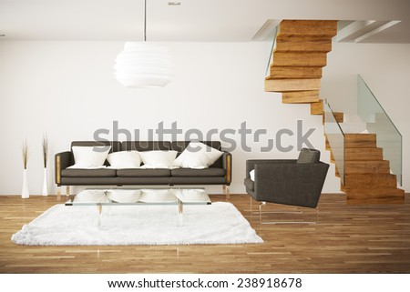 rendered living room - stock photo