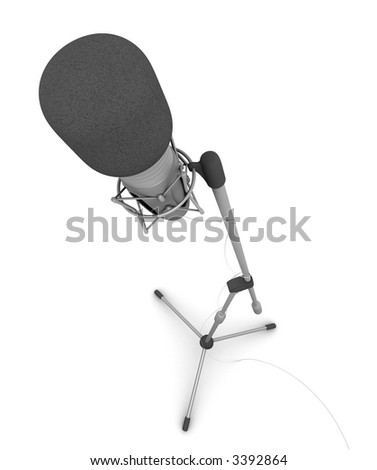 Rendered professional microphone on white background