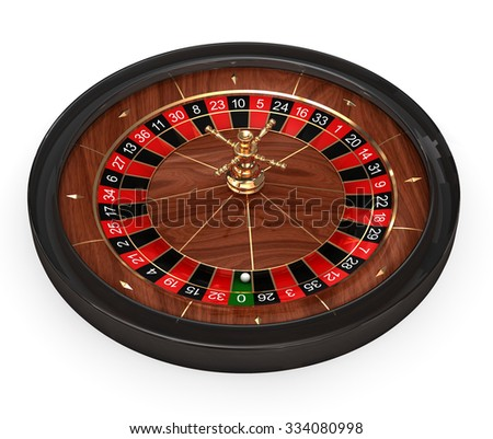 Rendered roulette table with play chips over white background