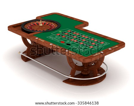 Rendered roulette table with play chips over white background - stock photo