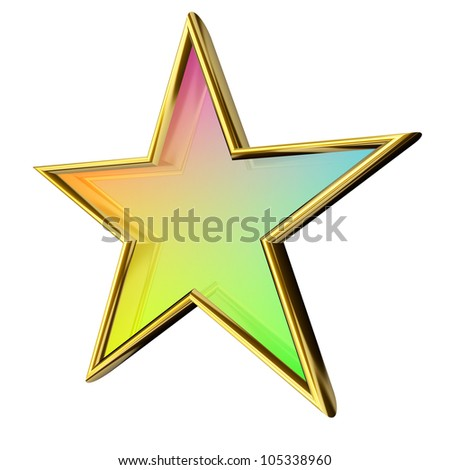 Rendered semi transparent colored star with metallic gold border - stock photo