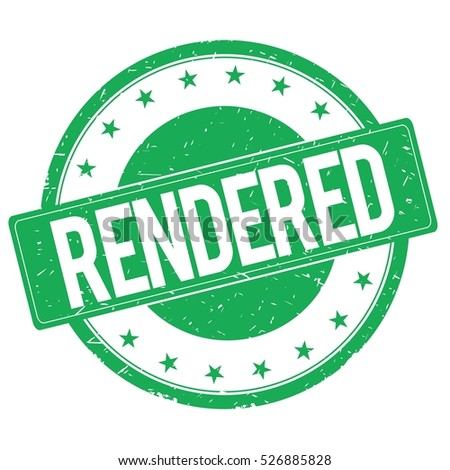 RENDERED stamp sign text word logo green.