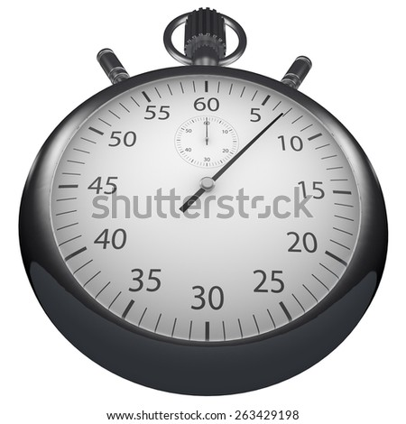 Rendered Stopwatch On White Background - stock photo