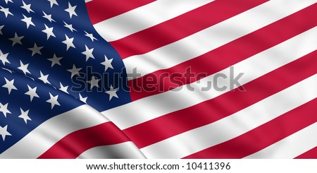 Rendered usa flag - stock photo