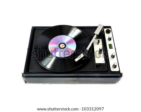 Rendered vinyl player isolated on white background