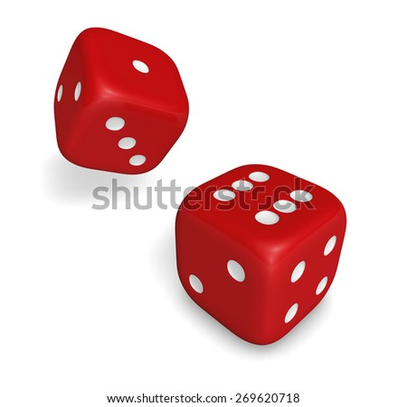 Rendering 3d of two rolling red dice showing number six and one illustration isolated on white background.