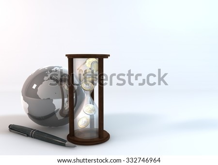 Rendering 3 Dimensions image on a white background. The idea about world of Financial.