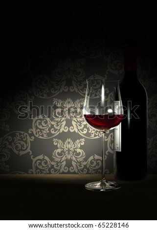 Rendering focusing at a bottle and a glass filled with noble red wine and an ancient wallpaper pattern in the background