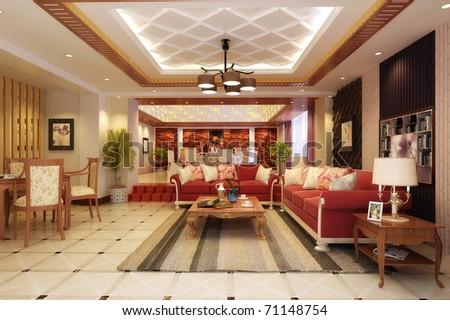 rendering  Interior fashionable living-room - stock photo