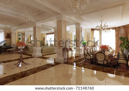 rendering  Interior fashionable living-room