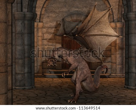 Rendering of a aggressive dragon - stock photo