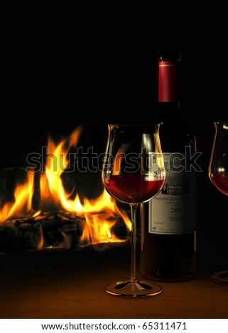 Rendering of a bottle of red wine and glasses with a fireplace in the background- the label on the bottle is fictitious
