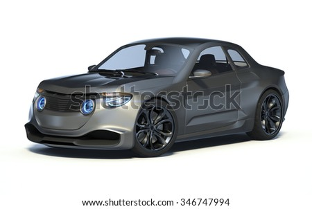 Rendering of a brand-less generic concept car in studio environment. No trademark issues as the car is my own design. The car does not exist in real life - stock photo