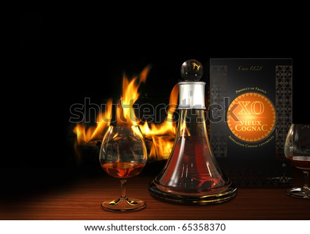 Rendering of a carafe and glasses filled with old cognac XO with a fireplace in the background - the packaging and the label is fictitious