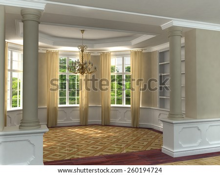 Rendering of a classic interior sun room with hardwood floors and draped windows overlooking a garden. 3D illustration. - stock photo