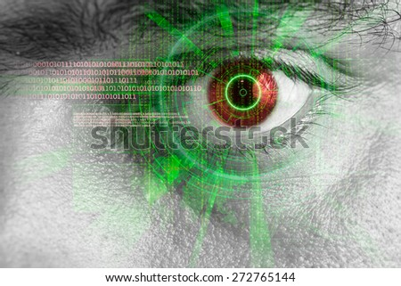 rendering of a futuristic cyber eye with green laser light effect - stock photo