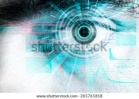 rendering of a futuristic cyber eye with laser light effect - stock photo