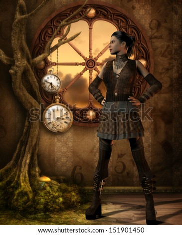 Rendering of a Girl in Steampunk outfit - stock photo
