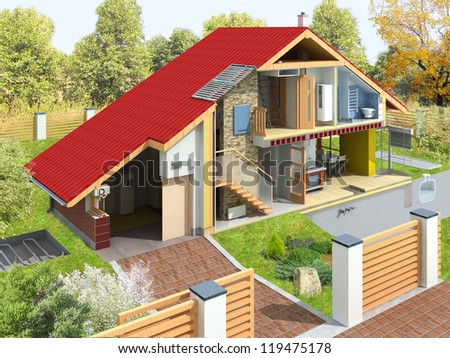 Rendering of a house in a section with garden. Visible technology of home infrastructure. - stock photo