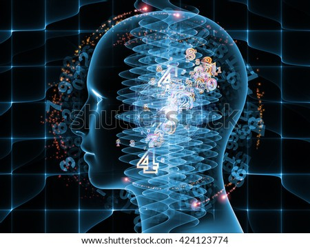 Rendering of a human head and technological elements on subject of science and education