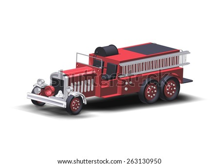Rendering of a made up vintage style fire truck - stock photo