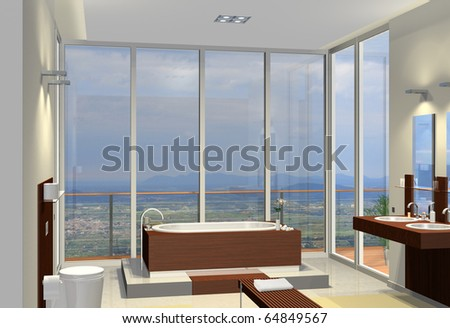 Rendering of a modern bathroom with fantastic view - stock photo