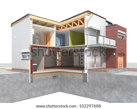 Rendering of a modern house in the section on white background - stock photo