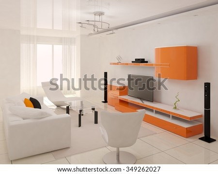 Rendering of a modern living room, 3d rendering.