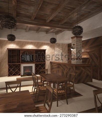 Rendering of a restaurant interior design