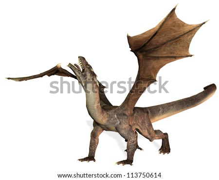 rendering of a roaring dragon - stock photo