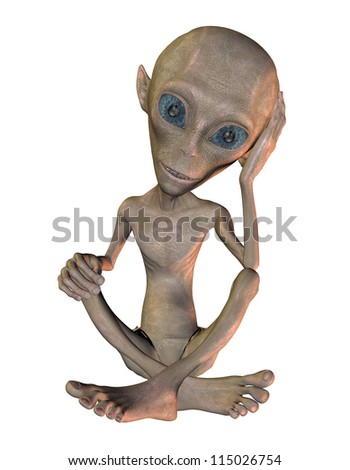 rendering of a seated Alien - stock photo