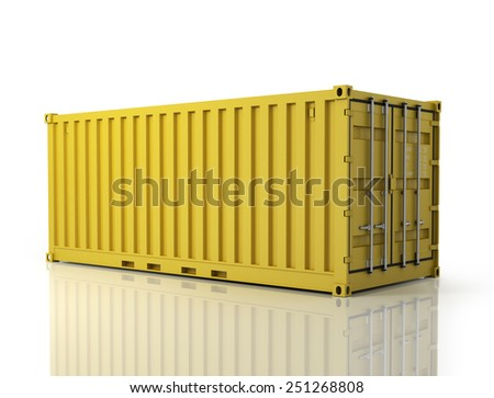 Rendering of a shipping container. - stock photo
