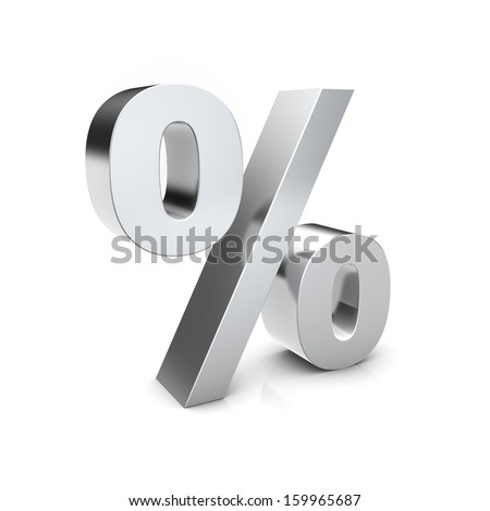 Rendering of a silver percent sign on a reflective ground
