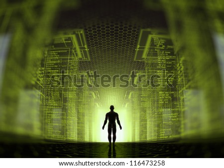 Rendering of a virtual world - stock photo