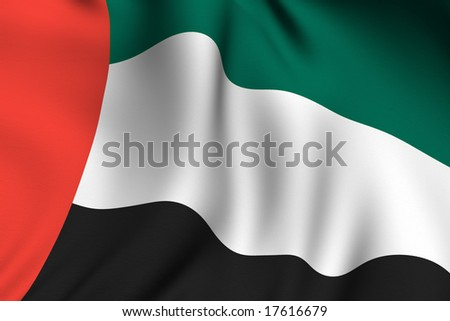 Rendering of a waving flag of the United Arab Emirates with accurate colors and design and a fabric texture.
