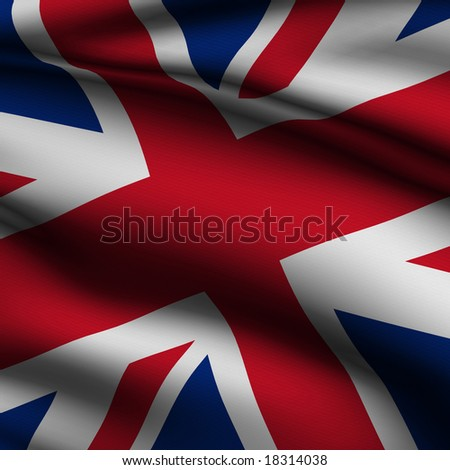 Rendering of a waving flag of the United Kingdom with accurate colors and design and a fabric texture in a square format - stock photo