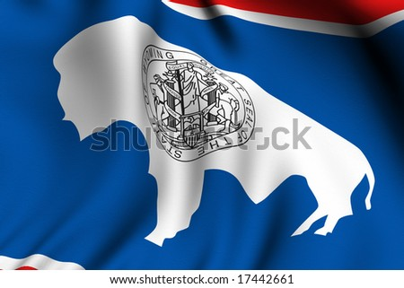 Rendering of a waving flag of the US state of Wyoming with accurate colors and design and a fabric texture.