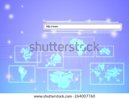 rendering of a web address linking all continents of world - stock photo
