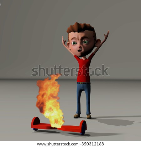 rendering of a young boy upset over his hoverboard bursting into flames