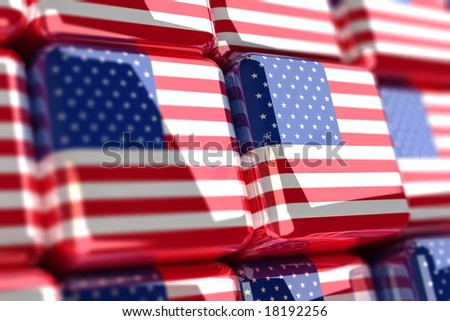 Rendering of american flag in cubes - stock photo