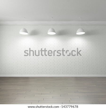 Rendering of an empty room with high quality parquet floor, blank brick wall, , hanging lights on the ceiling - stock photo