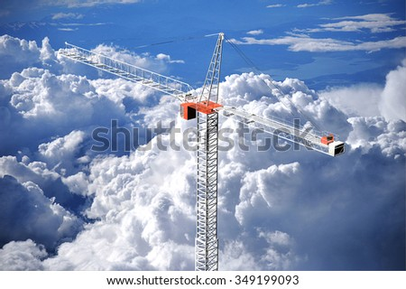rendering of an extremely tall crane over a photo of towering cumulus clouds that I took from an airplane