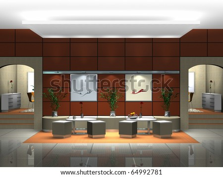 Rendering of an interior scene showing a lounge or restaurant - stock photo