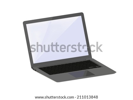 rendering of grey laptop computer isolated on white