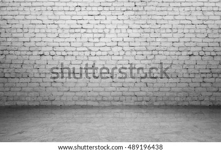 Rendering of interior with old white brick wall and concrete floor. Textured background. Copyspace. Rough-surfaced.