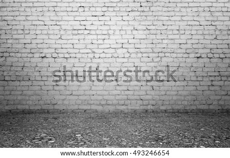 Rendering of interior with old white brick wall and ground. Textured background. Copyspace. Rough-surfaced.