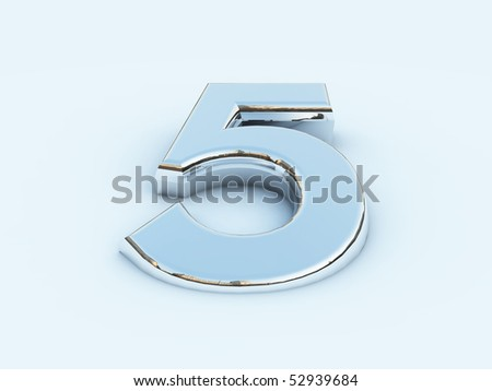 rendering of metallic number five on light background